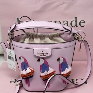 Kate spade pink Flock Party Parrot Bucket Bag